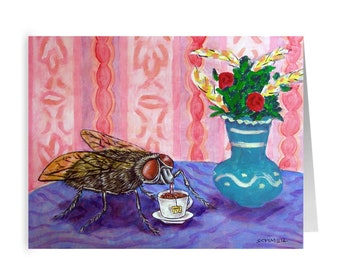 House Fly Tea Time Insect Stationary Note Card Greeting  Decor Gift