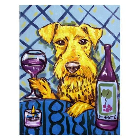 Airedale terrier dog bathroom  art print dog prints 11x14 animals gift new