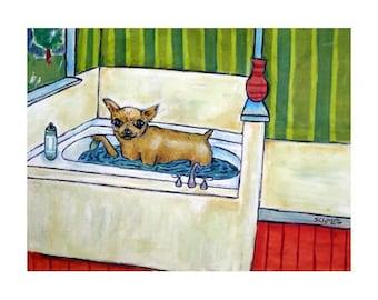 chihuahua art - Chihuahua Taking a Bath Dog Art Print