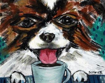 papillon  coffee art shop Dog Art Tile Coaster gift JSCHMETZ abstract folk art pop art MODERN