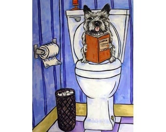 Cairn Terrier in the Bathroom Dog Art Print
