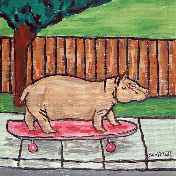 HIPPOPOTAMUS hippo PRINT abstract folk pop *GIFT JSCHMETZ 13x19 bedroom art