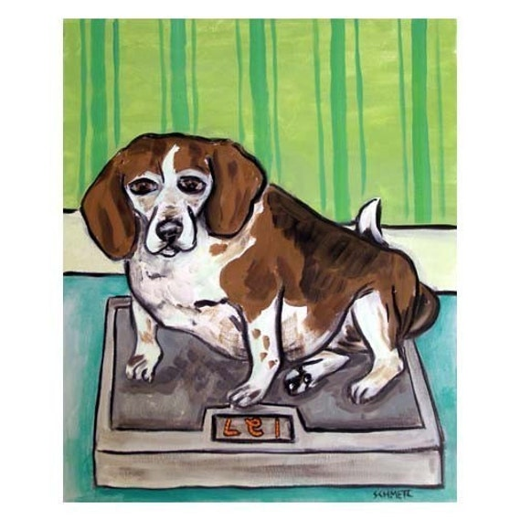 Beagle Tea room 8x10  art PRINT animals impressionism gift new giclee