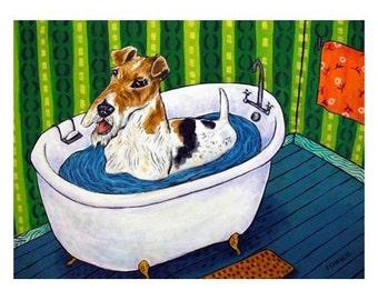Fox Terrier Taking a Bath Dog Art Print