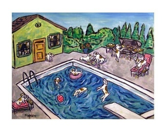Jack Russell Terrier Pool Party Cook Out  Art Print