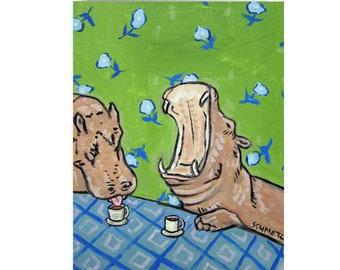 Hippo Notecard, Stationary Greeting Card, Hippopotamus Lover, Coffee Stationary, Coffee Art, Hippo Art