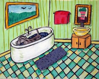 Schnauzer Taking a Bath Bathroom picture Dog Art Print  image 2