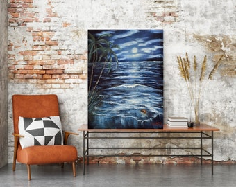 Beach at night beachscape seascape landscape coastal home decor art, ready to hang canvas print or unframed print on paper