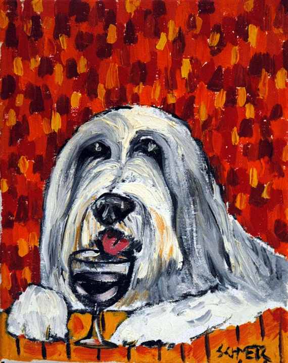 BEARDED COLLIE coffee dog 11x14  art print artist listed animals new gift