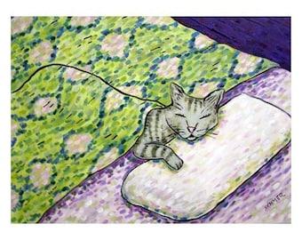 cat art - Grey Cat Sleeping Art Print, cat gifts, gift