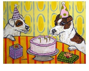 Jack Russell Terrier Birthday Party Dog Art Print