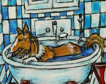 sheltie shetland sheepdog taking a bath bathroom art tile coaster gift dog