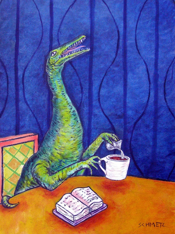 procompsognathus dinosaur coffee art  poster 13x19 GLOSSY PRINT