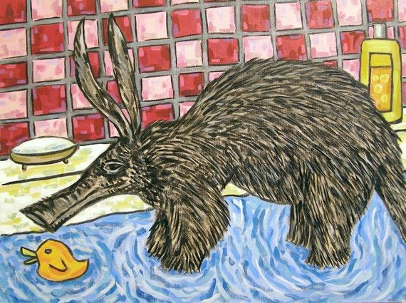 BEAGLE dog PRINT gift JSCHMETZ bathroom bather 13x19 modern folk art