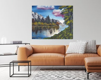 Lake Mountain with Pink Clouds home decor art, ready to hang canvas print or unframed print on paper