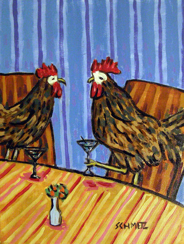 CHICKEN bathroom birds 11x14  art PRINTS dog animals impressionism artist