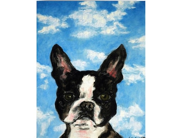 Boston Terrier Note Card, Dog Greeting Cards, Animal Decor, Boston Terrier Art, Dog Art, Dog Lover Cards