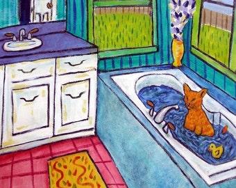 cat tile - cat art - Orange Cat Taking a Bath Animal Art Tile Coaster, cat gifts, gift