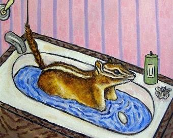 Least Chipmunk Taking a Bath Art Tile Coaster