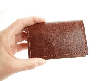 Chestnut Brown Leather Minimalist Front Pocket Wallet with RFID Blocking