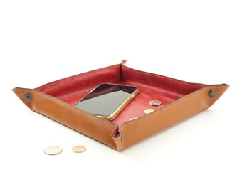 Leather Catch-all Valet Tray - Red LARGE