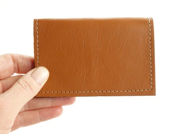 Brown Leather Minimalist Front Pocket Wallet with RFID Blocking