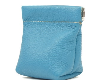Leather Squeeze Coin Pouch Purse in Sky Blue or Tan
