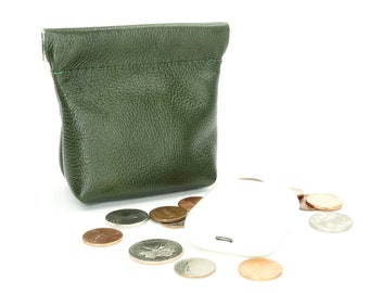 Leather Squeeze Coin Pouch Purse Olive Green