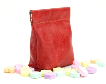 Leather Squeeze Coin Pouch Purse in Pink or Red