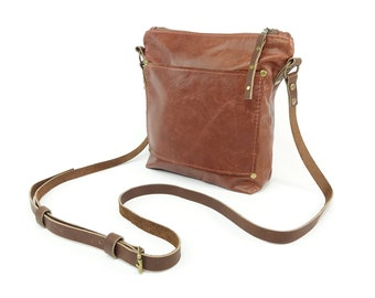 Chestnut Brown Leather Cross Body Purse