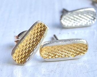Gold on silver cross amp bar style stud earrings