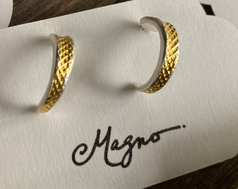 Silver and Gold cross amp post hoop earrings in silver with 24K Choose sterling or surgical-steel posts