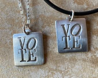 VOTE Pendant in silver handmade by Lori Magno
