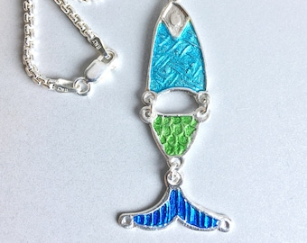 Mary's Fishes Silver & Enamel Pendant