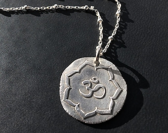 Om Lotus Pendant in silver on sterling beaded chain handmade by Lori Magno