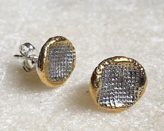 Gold Circle cross amp stud earrings in silver with 24K gold edge