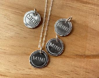 Tiny MINI Cooper pendant in fine silver with sterling chain