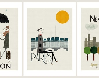Cities, set of three prints