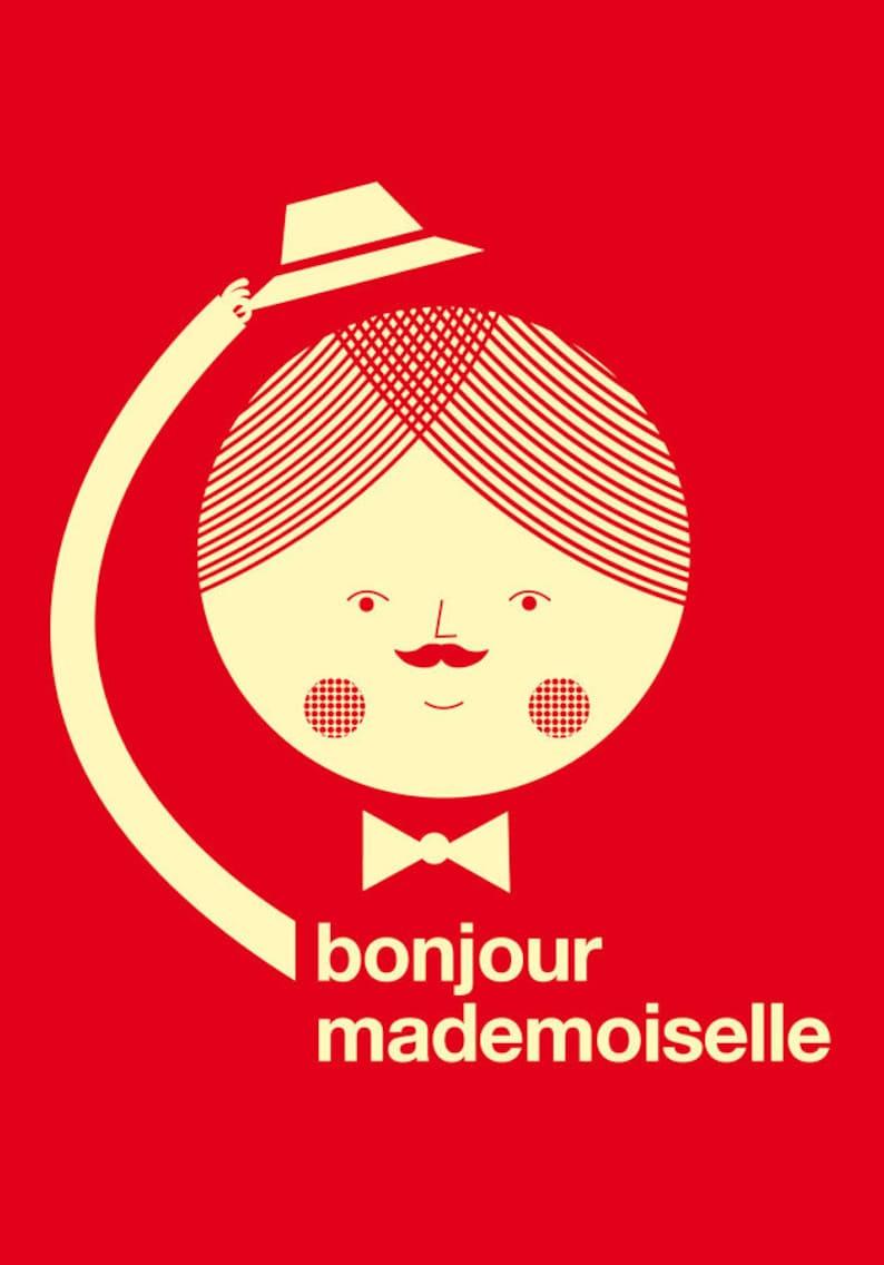 Bonjour mademoiselle red print image 0