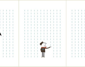 It's raining set of three prints