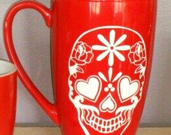 Sugar skull XL red  Mug
