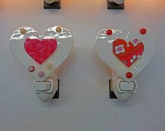 Heart Night Lights - Mosaic-Like Heart Nightlights - Fused Glass Red & Pink Heart Nitelites Ready to Ship
