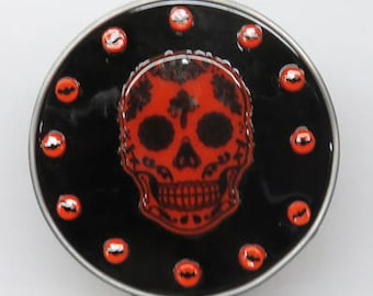 Skull Nightlights x 2 - Day of the Dead - Two Skull Halloween Glass Night lights - One White - One Orange & Black - Ready to Ship