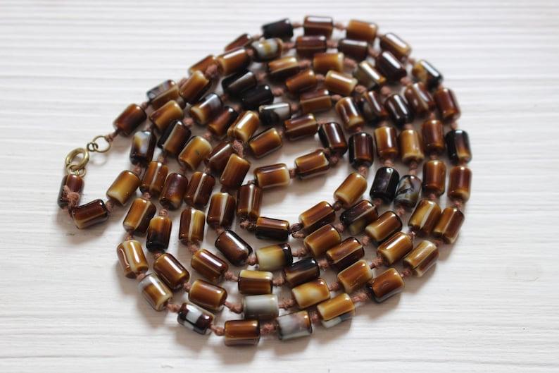 Vintage knotted mocha glass necklace
