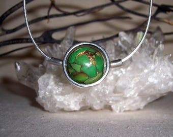 TURQUOISE (GREEN MOHAVE) -hand-cut -Stone Sphere Necklace