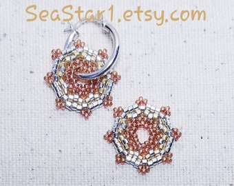 """BEADED DO-NUT Earrings - """"Helios"""" and Sterling Silver"""