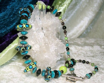 CATERPILLAR - OOAK Necklace in Lampwork Glass, Black Onyx, Turquoise, Gaspeite, Garnet, and Sterling Silver
