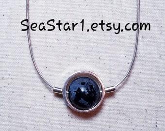AGATE (PHOENIX/DRAGON - Black) Stone Sphere Necklace