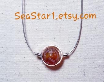 AGATE (PHOENIX/DRAGON - Orange) Stone Sphere Necklace