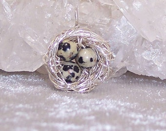 QUAIL EGGS - Nest Pendant in Dalmatian Jasper and Sterling Silver